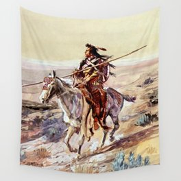 """Indian With Spear "" by Charles M Russell Wall Tapestry"