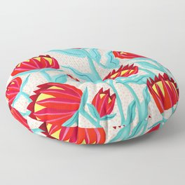 Bold Protea Flower Pattern - Red Yellow Green Floor Pillow