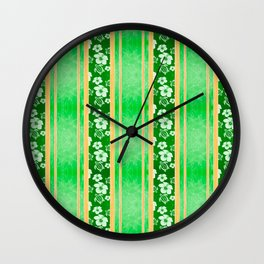 Green Hibiscus Honu Stripes Wall Clock