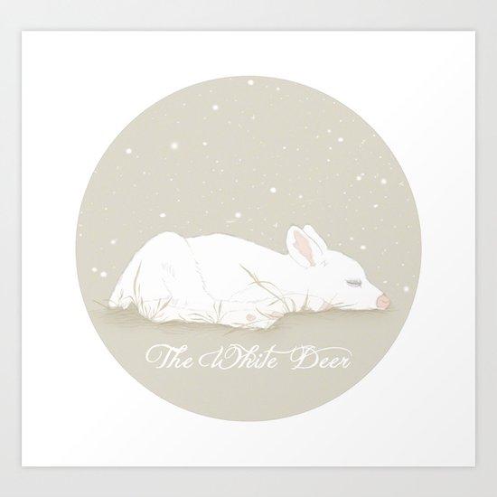The White Deer Art Print