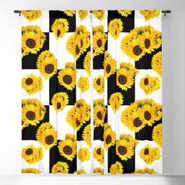 Large Check Yellow Sunflower Floral with Black and White Checkered Summer Print Blackout Curtain