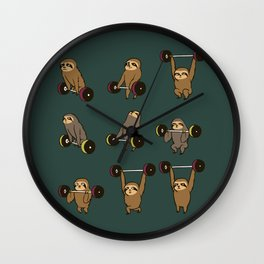 OLYMPIC LIFTING SLOTHS Wall Clock