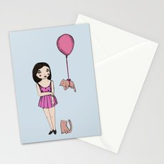 The cat balloon Stationery Cards