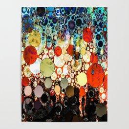 Abstract Retro Blue Orange Bubble Design Poster