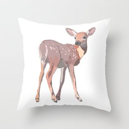 Baby Deer Art Throw Pillow