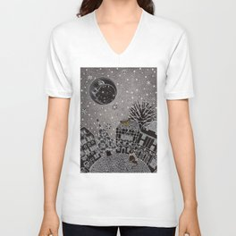 'Twas a Moonlit Winter Night Unisex V-Neck