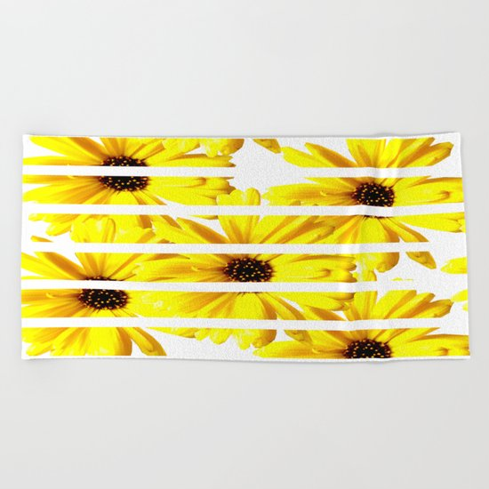 Yellow Mellow Daisies with White Stripes Beach Towel