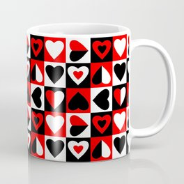 Black White and Red Hearts Pattern Coffee Mug