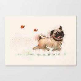 The Furminator pug watercolor like art Canvas Print