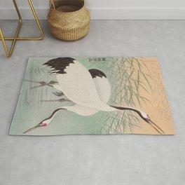 Two cranes in the lake - Japanese vintage woodblock print Rug