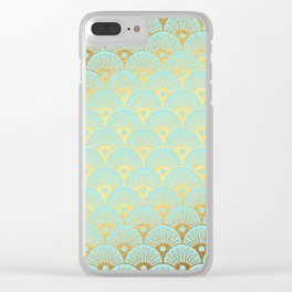 Art Deco Mermaid Scales Pattern on aqua turquoise with Gold foil effect Clear iPhone Case
