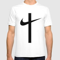 Swoosh Cross (... And Deliver Us From Evil) / Black Mens Fitted Tee White LARGE