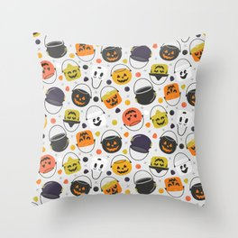 Halloween Candy Buckets Throw Pillow