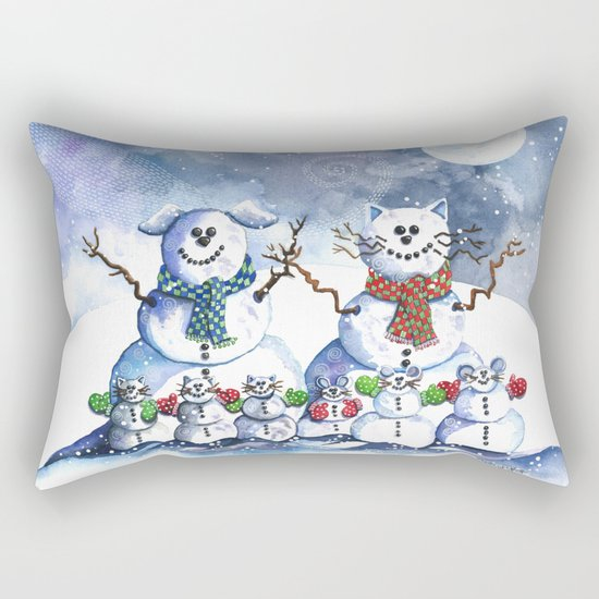 It's Snowing Cats and Dogs (and Mice too) Rectangular Pillow