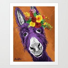 Colorful Donkey Art, Flower Crown Donkey Art Art Print