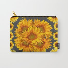 Ornate Charcoal Grey Sunflowers Pattern Carry-All Pouch