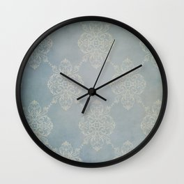 Vintage Damask - Faded Indigo Blue Wall Clock