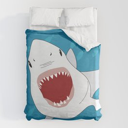 Shark Attack Underwater With Fish Swimming In The Background Duvet Cover