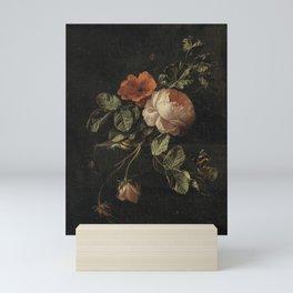 Botanical Rose And Snail Mini Art Print