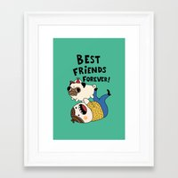 pug Framed Art Prints featuring PUG by Jarvis Glasses