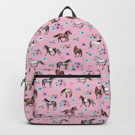 Horses & Flowers, Pink Pattern, Horse Illustration, Little Girls Room, Watercolor Backpack