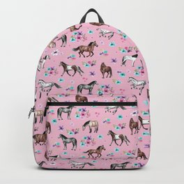 Horses & Flowers, Pink Pattern, Horse Illustration, Little Girls Room, Watercolor Backpack