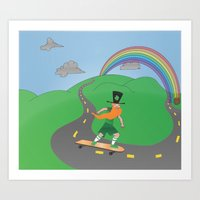 Rusty the Longboarding Leprechaun Art Print