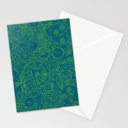 Clockwork Turquoise & Lime / Cogs and clockwork parts lineart pattern Stationery Cards