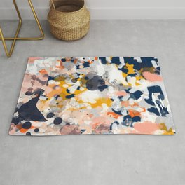 Stella II - Abstract painting in modern fresh colors navy, orange, pink, cream, white, and gold Rug