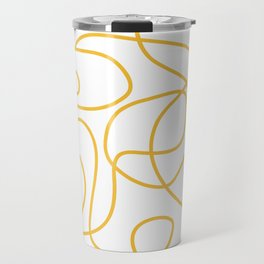 Doodle Line Art | Mustard Yellow Lines on White Travel Mug