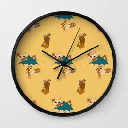 Fox and Umbrella  Wall Clock