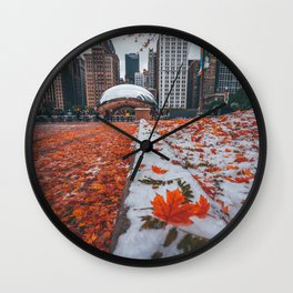 Fall and Winter Chicago Wall Clock