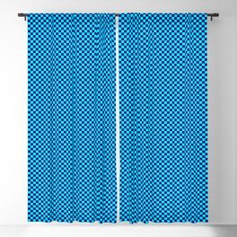 Cyan and dark blue squares Blackout Curtain