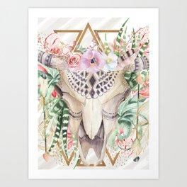 Skull boho and triangles Art Print