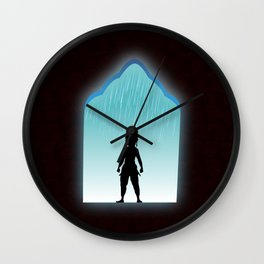 Girl samurai standing shadow of silhouette in rainy day at castle, paisley pattern on dark brown background. Wall Clock