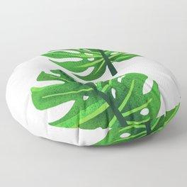 green monstera leaves illustration Floor Pillow