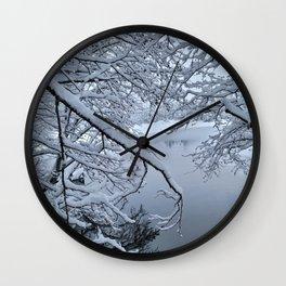 Through snowy branches Wall Clock