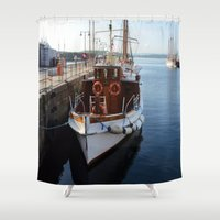 oslo Shower Curtains featuring Classic Boats In Oslo by Malcolm Snook