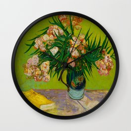 Oleanders Vincent van Gogh Oil On Canvas Floral Still Life Painting Wall Clock
