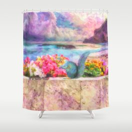 Looking Out To Sea - Painting - by Liane Wright Shower Curtain