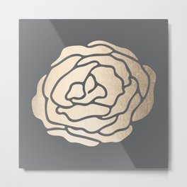 Rose in White Gold Sands on Storm Gray Metal Print