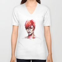 rihanna V-neck T-shirts featuring Rihanna by Allison Kunath