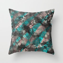 Bubblicious - Teal Pink & Taupe Palette Throw Pillow