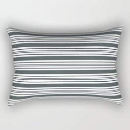 PPG Night Watch Pewter Green & White Thick and Thin Horizontal Lines Bold Stripe Pattern Rectangular Pillow