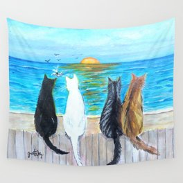Cat Beach Sunset Wall Tapestry