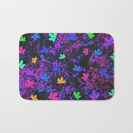 colorful maple leaf with purple and blue creepers plants background Bath Mat