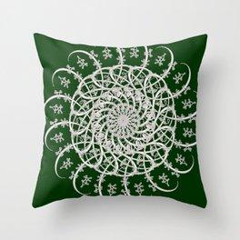 Mandala #104, Deep Green and White Throw Pillow