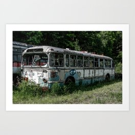 Abandoned Bus Broken and Abused Rusty Car Art Print