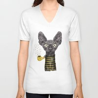 black cat V-neck T-shirts featuring Black Cat by dogooder