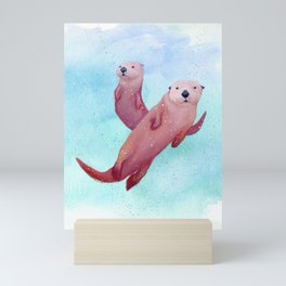 Pink Sea Otters Mini Art Print